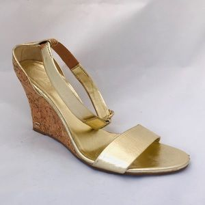 Gucci Gold Leather Cork Wedges